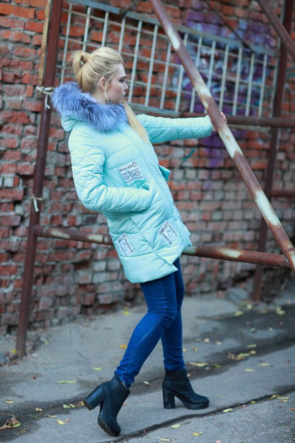 Зимняя куртка ЮТА чернобурка мята