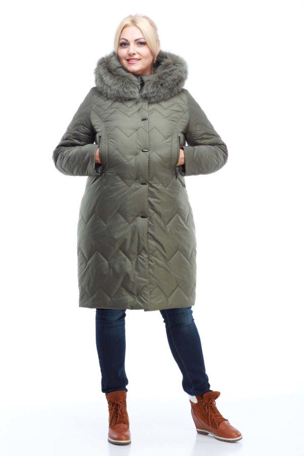 Пальто стеганое Верона, песец, оливка