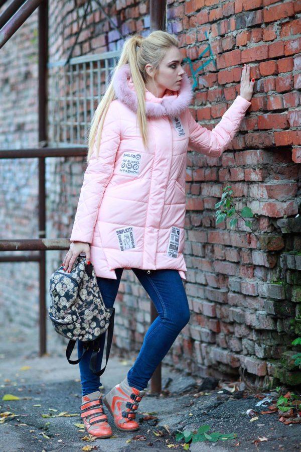 Зимняя куртка ЮТА песец-альбинос персик