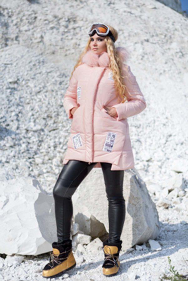 Зимняя куртка ЮТА канадская лиса персиково-розовый