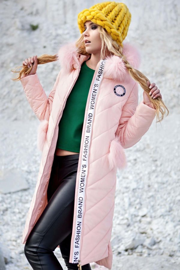 Зимнее пальто стеганое Монтана канадская лиса розово персик.