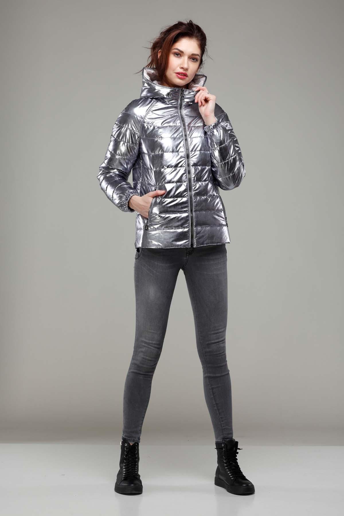 Куртка Уна фольга плащевка silver