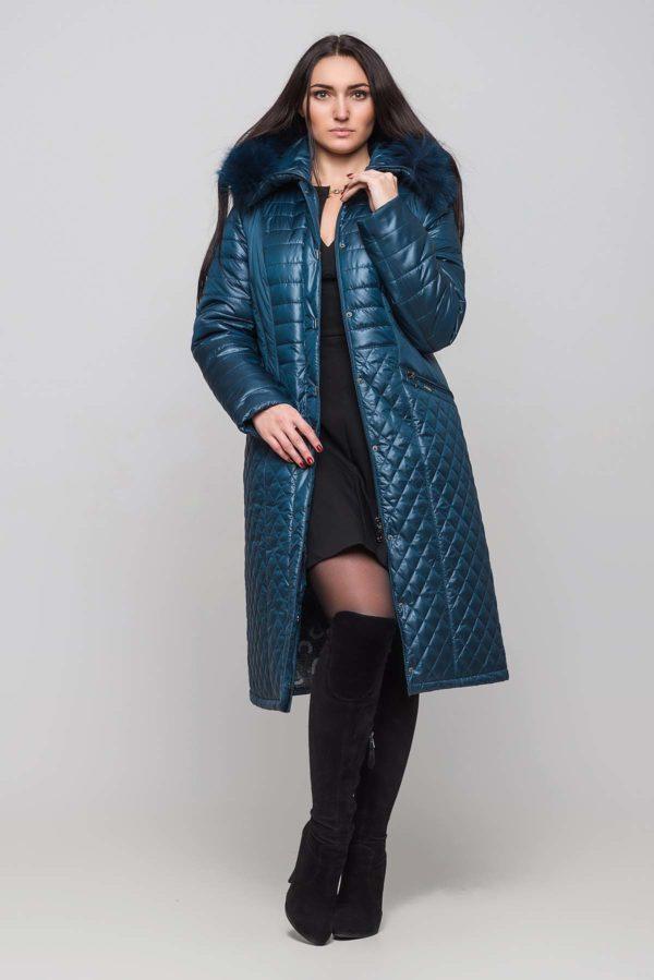 Зимнее пальто Софи Зима, песец-хвост темная бирюза