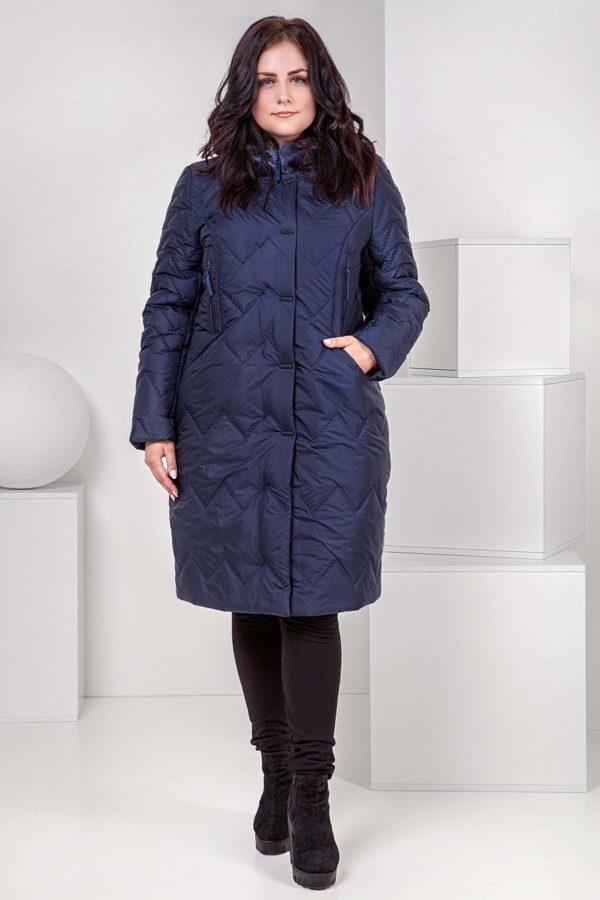 Пальто стеганое Верона, мутон, темно синий