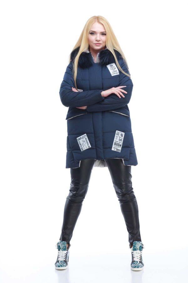 Зимняя куртка ЮТА енот в цвет темно синий