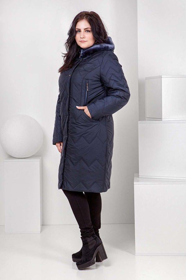 Пальто стеганое Верона, мутон, темно-синий№5