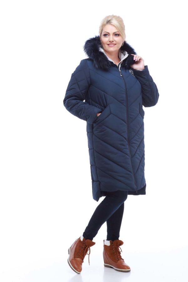 Зимнее пальто стеганое Монтана енот в цвет изделия т.синий