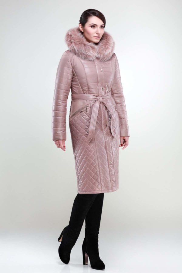 Зимнее пальто Софи Зима, песец-хвост темный беж