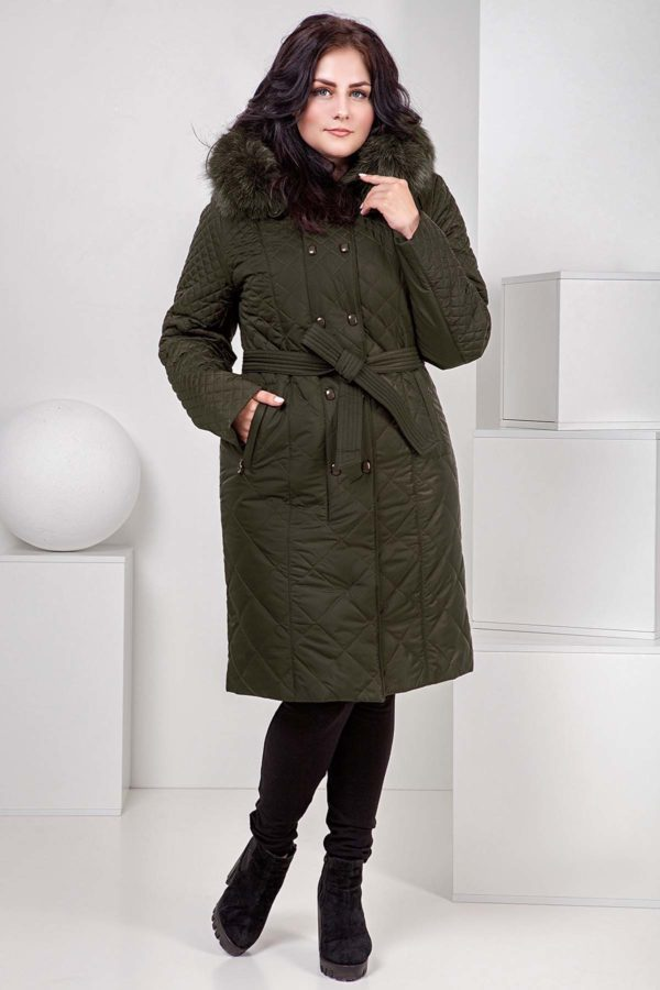 Пальто стеганое Верона, песец, темный хаки+песец хвост