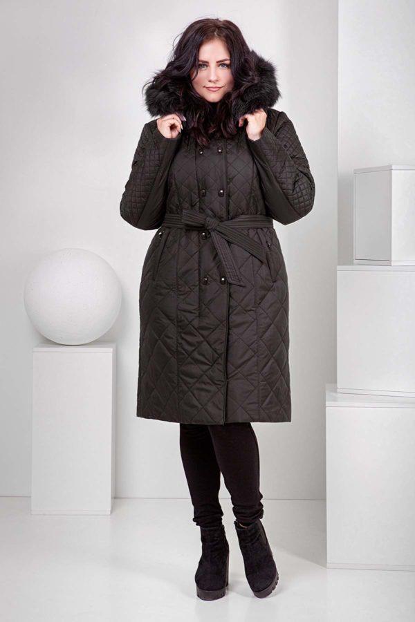 Пальто стеганое Верона, песец, темный шоколад