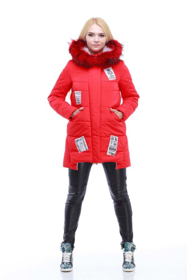 Зимняя куртка ЮТА енот в цвет ярко-красный