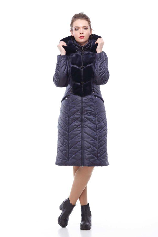 Зимове пальто стьобана Одрі темно-синій