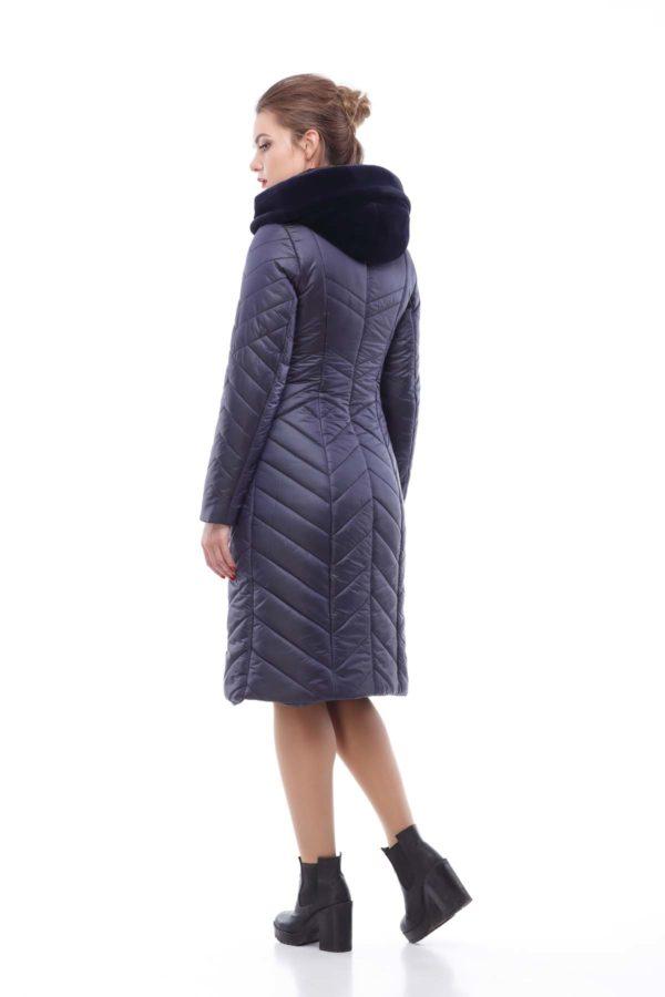 Зимнее пальто стеганое Одри темно-синий