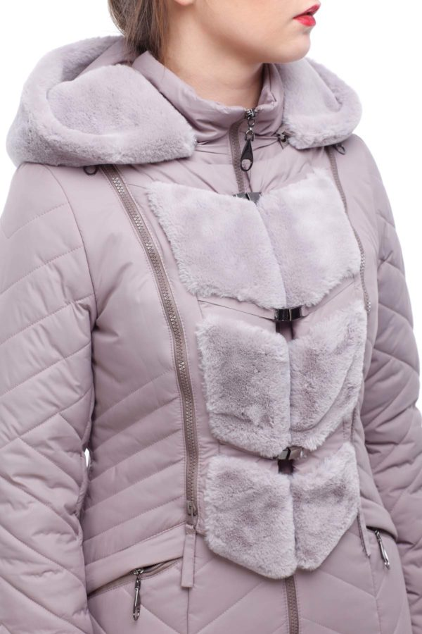 Зимнее пальто стеганое Одри сиренево-дымчатый