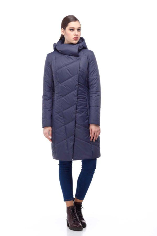 Пальто стеганое Камелия темно-синий