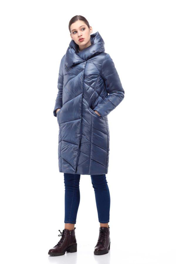 Пальто стеганое Карина темно-синий лед нейлон