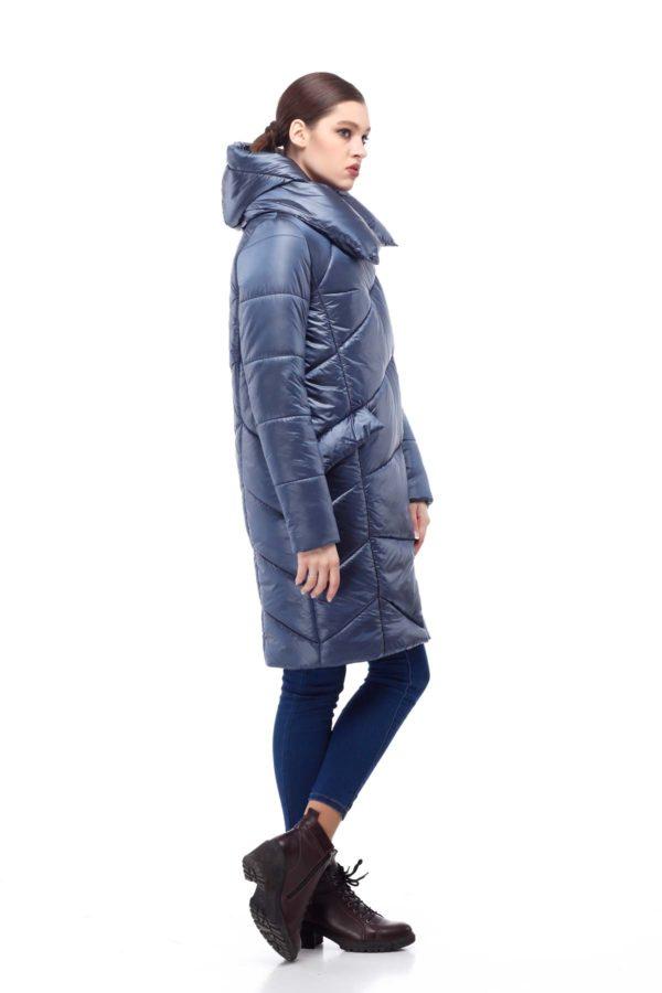 Зимове пальто стьогане Каріна, нейлон темно-синій лід