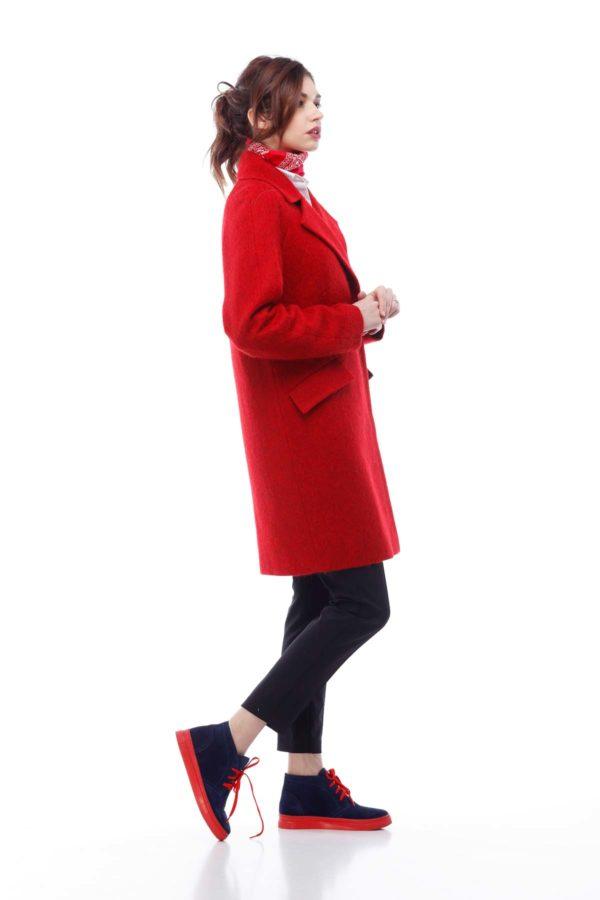 Купить Пальто Melton Лора красный длинный ворс