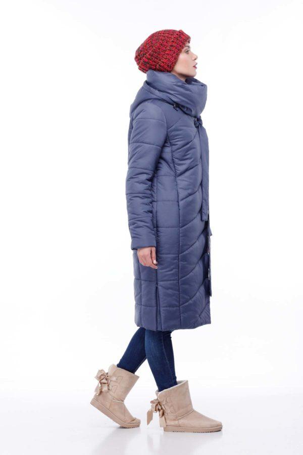 Зимнее пальто стеганое Вероника, меланж, синий джинс