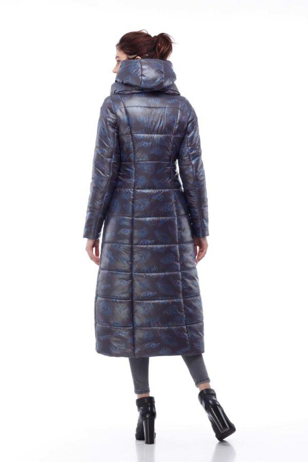 Пальто стьобана Комільфо темно-синій принт _лістік_