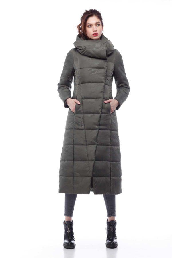 Пальто стеганое Комильфо хаки милитари