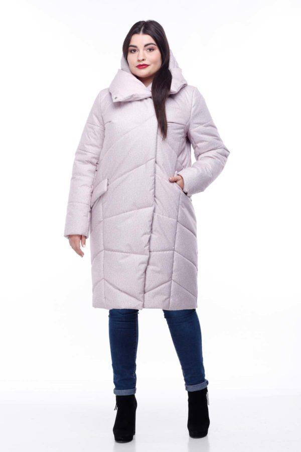 Пальто стеганое Карина розовый флок большой размер