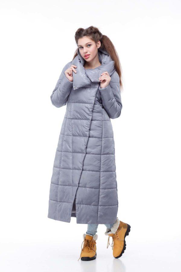 Пальто стеганое Комильфо темно-серый милитари
