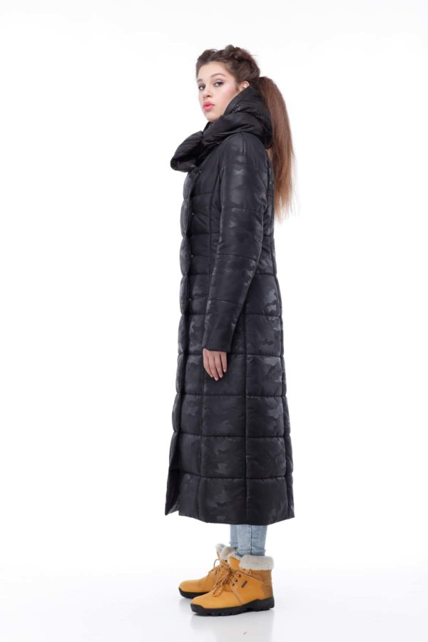 Пальто стеганое Комильфо черный милитари