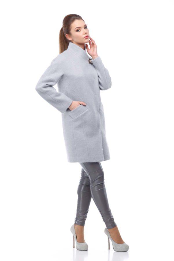 Осенние пальто Ангора Блюз серый перламутр