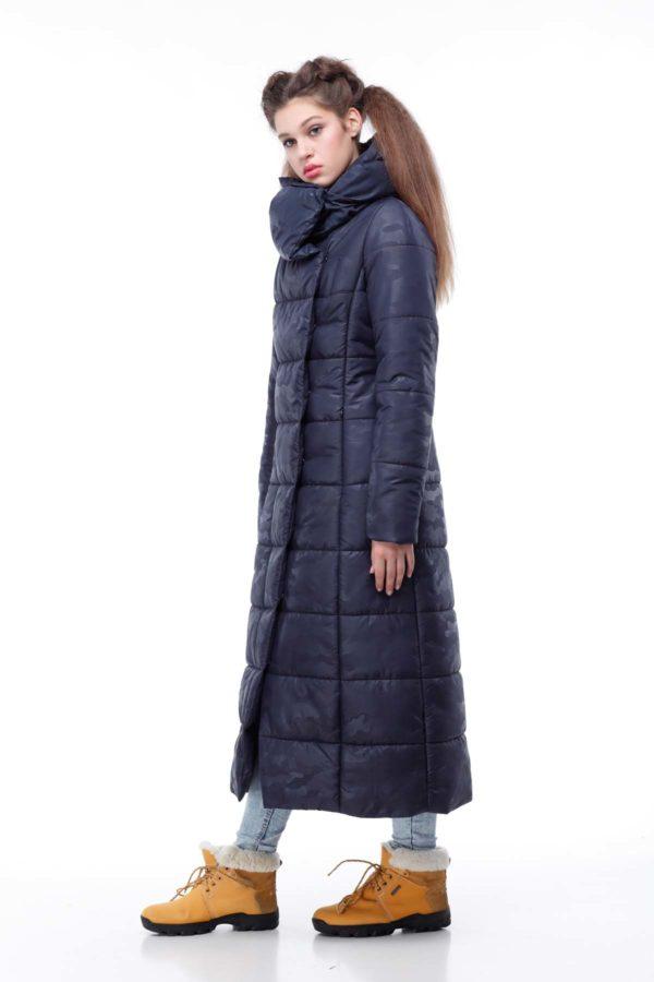 Пальто стеганое Комильфо темно-синий милитари