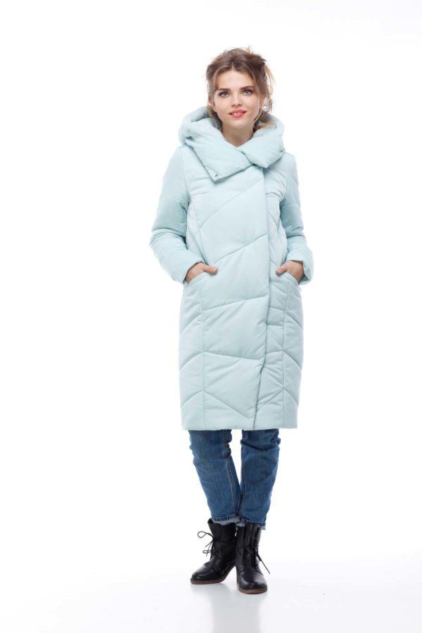 Пальто стеганое Карина мята кролик