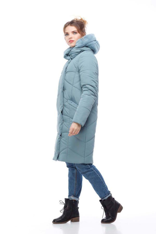 Пальто стеганое Карина аквамарин кролик