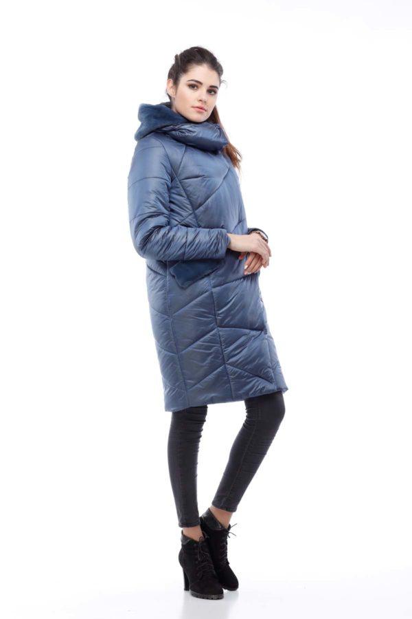 Пальто стеганое Карина темно-синий нейлон кролик