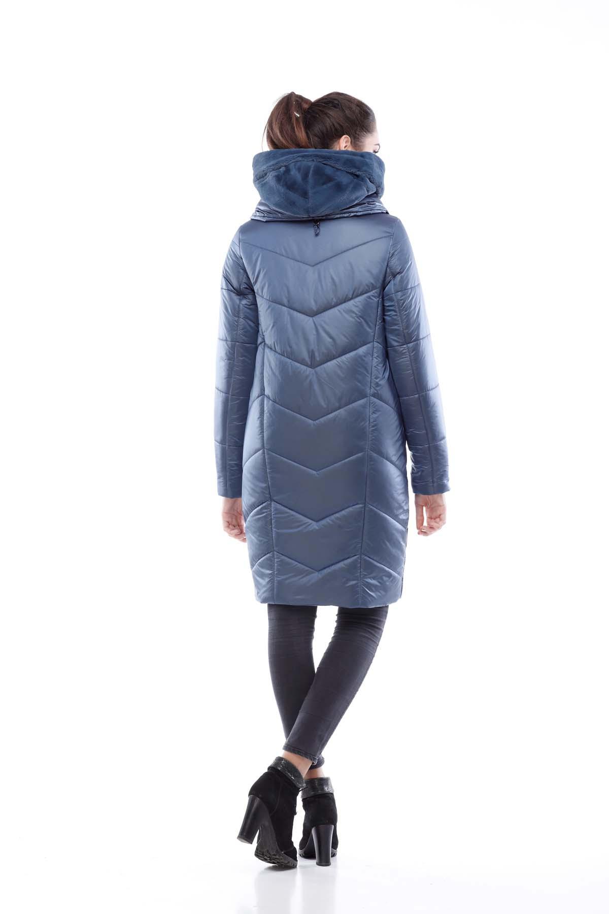 Пальто стьобана Карина темно-синій нейлон кролик