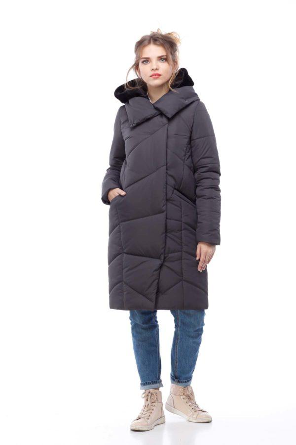 Пальто стеганое Карина графит б-кокетки кролик