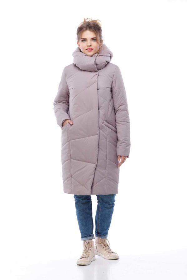 Пальто стеганое Карина сиренево дымчатый кролик