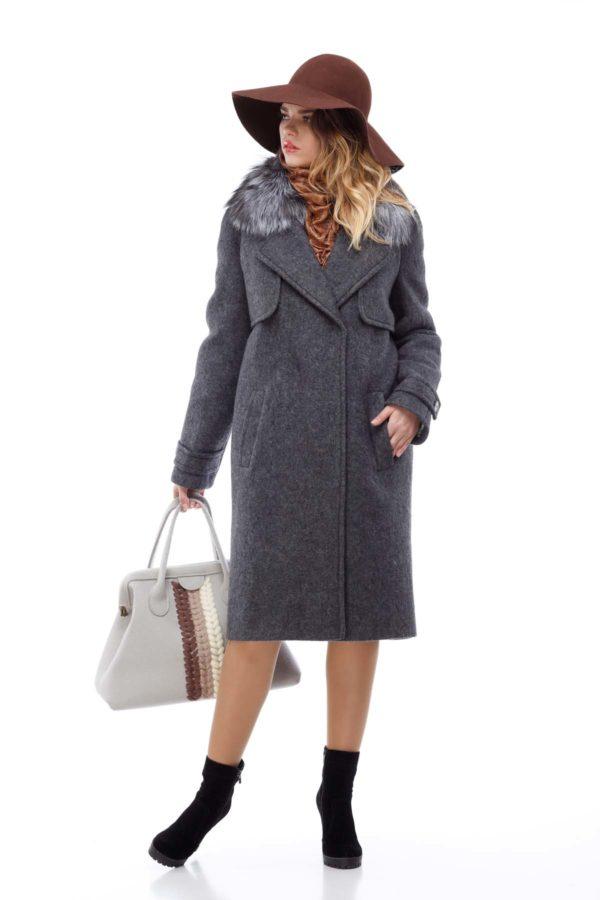 Зимние пальто Фелиция шерсть италия темно-серое