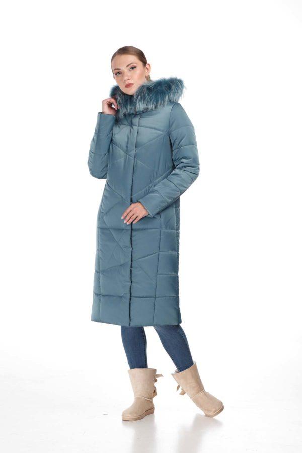 Зимнее пальто Дакота єнот зелений атлас
