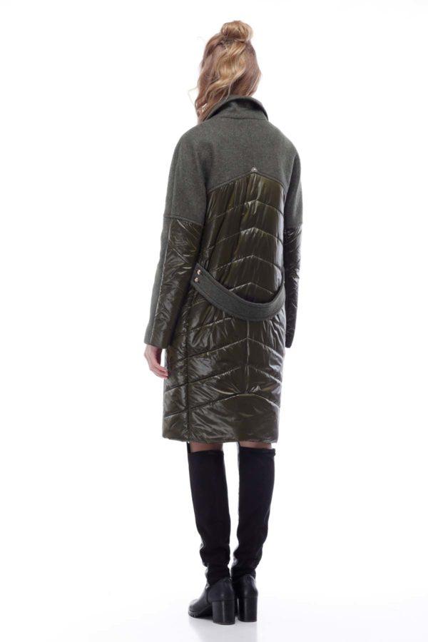 Купить Пальто стеганное Монреаль Шерсть Италия хаки