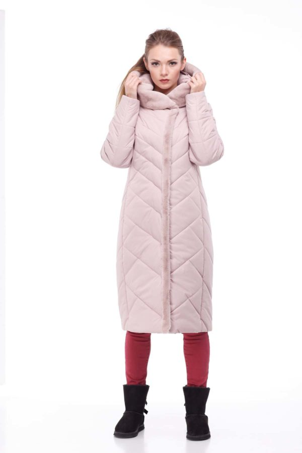 Пальто Сима Зима, кролик пыльная роза