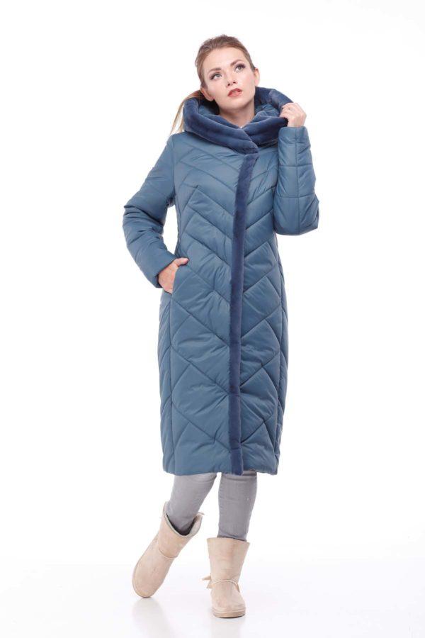 Пальто Сима Зима, кролик серо-синий