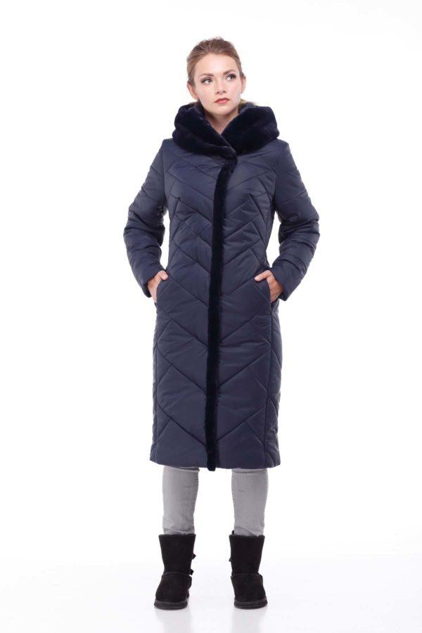 Пальто Сима Зима, кролик темно-синий