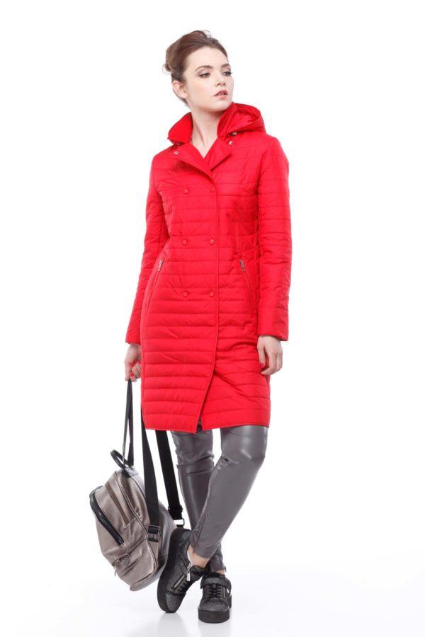 Пальто стеганое Ким, ярко-красный