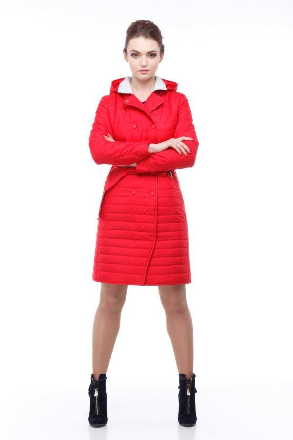 Пальто стеганое Ким, ярко-красный св.серый