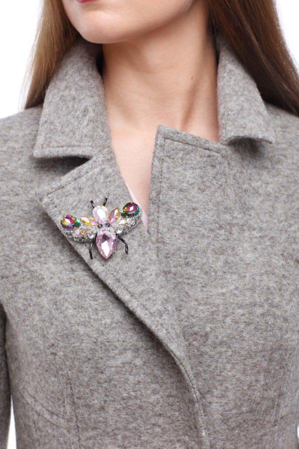 Шерсть Италия Виолетта серо-бежевый меланж брошь в подарок