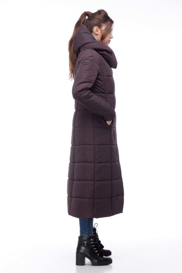 Пальто стеганое Комильфо темный шоколад