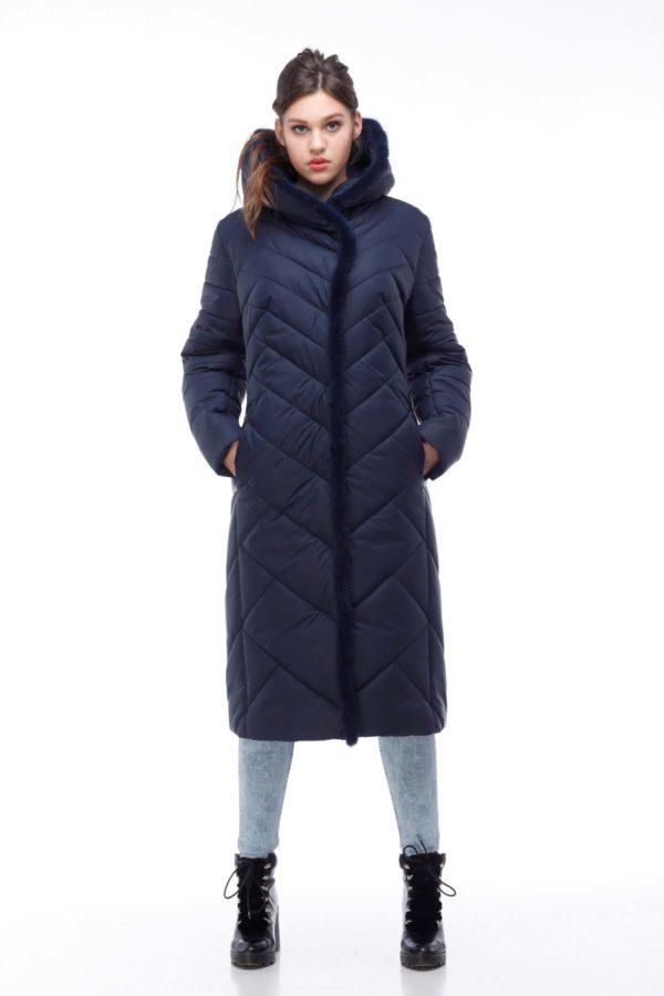 Пальто Сима Зима, норка темно-синий