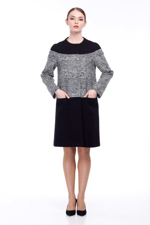 Купить пальто Миранда осень - весна Шерсть Италия черный черно-белая клетка