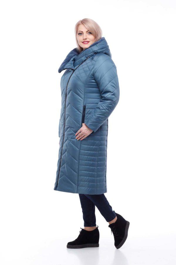 Зимнее пальто Мира кролик серо-синий