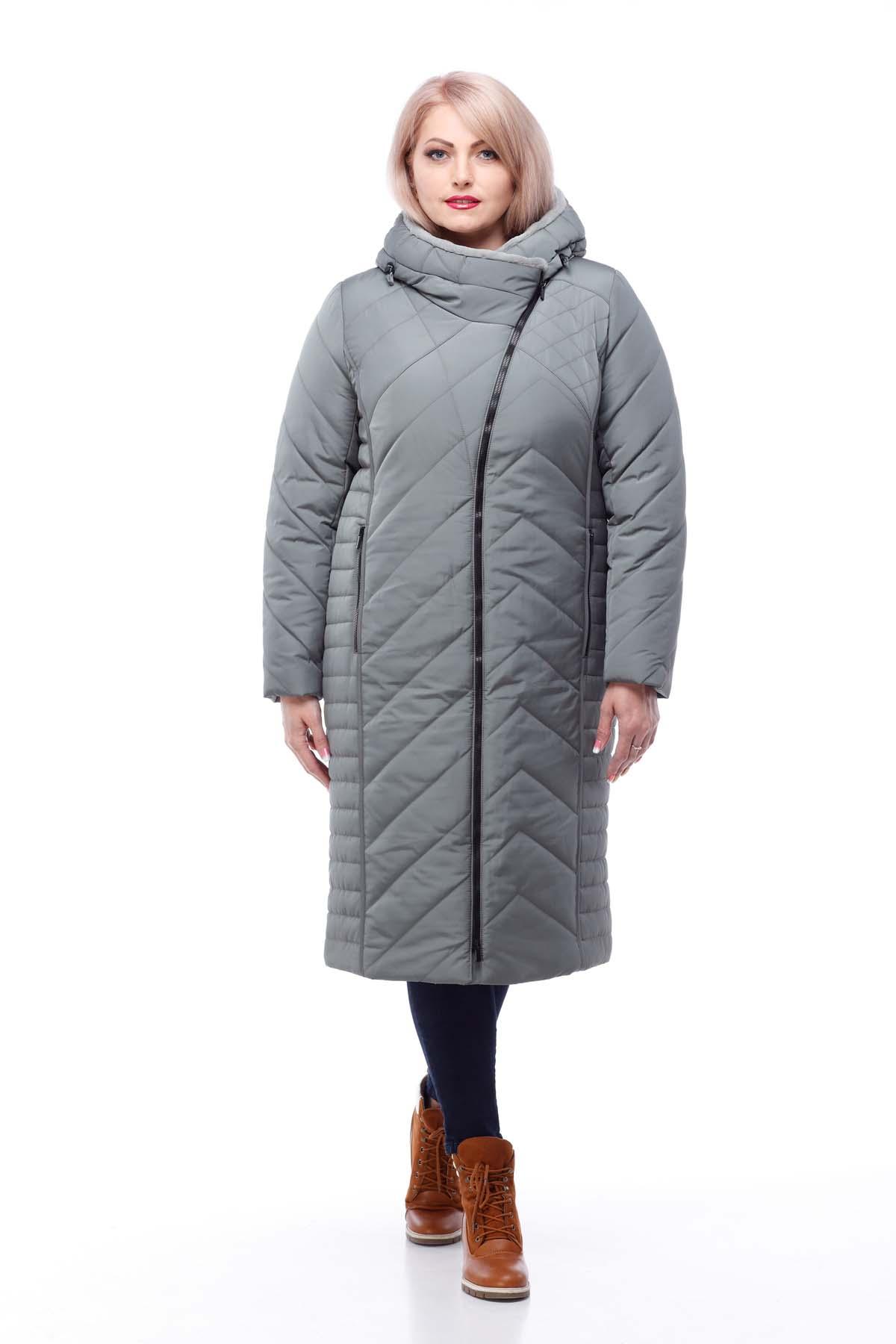 Зимове пальто Миру кролик фісташки